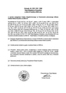 Uchwała Rady Miejskiej w Koszalinie nr XXII/239/2008