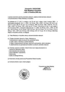 Uchwała Rady Miejskiej w Koszalinie nr XXII/243/2008