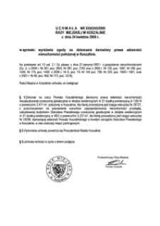 Uchwała Rady Miejskiej w Koszalinie nr XXII/245/2008
