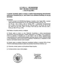 Uchwała Rady Miejskiej w Koszalinie nr XXIII/258/2008