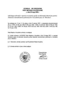 Uchwała Rady Miejskiej w Koszalinie nr XXIII/259/2008