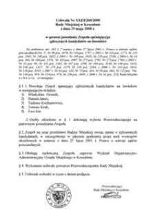 Uchwała Rady Miejskiej w Koszalinie nr XXIII/260/2008
