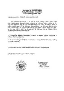 Uchwała Rady Miejskiej w Koszalinie nr XXIII/261/2008