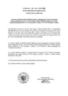 Uchwała Rady Miejskiej w Koszalinie nr XXV/272/2008
