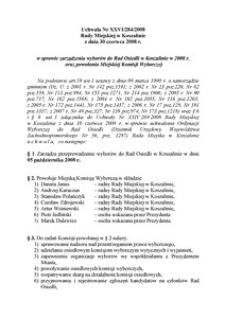 Uchwała Rady Miejskiej w Koszalinie nr XXVI/284/2008