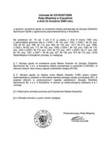 Uchwała Rady Miejskiej w Koszalinie nr XXVII/287/2008