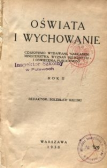 Oświata i Wychowanie. R.2, 1930 nr 1