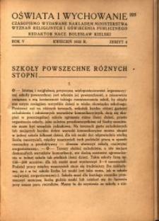 Oświata i Wychowanie. R.5, 1933 nr 4