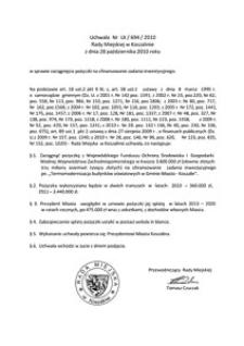 Uchwała Rady Miejskiej w Koszalinie nr LX/694/2010