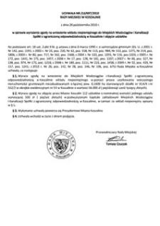 Uchwała Rady Miejskiej w Koszalinie nr LX/697/2010