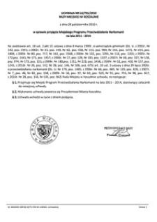Uchwała Rady Miejskiej w Koszalinie nr LX/701/2010
