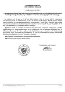 Uchwała Rady Miejskiej w Koszalinie nr LX/708/2010