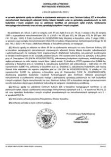 Uchwała Rady Miejskiej w Koszalinie nr LX/709/2010