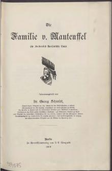 Die Familie v.[on] Manteuffel :(Stamm Poplow des Pommerschen Geschlechts)