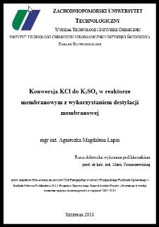 Konwersja KCI do K2SO4 w reaktorze membranowym z wykorzystaniem destylacji membranowej