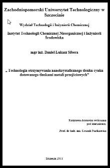 Technologia otrzymywania nanokrystalicznego tlenku cynku dotowanego tlenkami metali przejściowych