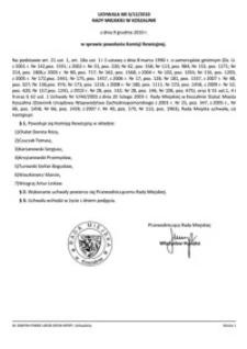 Uchwała Rady Miejskiej w Koszalinie nr II/12/2010