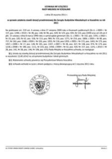 Uchwała Rady Miejskiej w Koszalinie nr V/32/2011