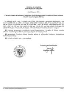 Uchwała Rady Miejskiej w Koszalinie nr V/44/2011