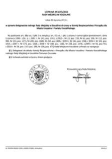 Uchwała Rady Miejskiej w Koszalinie nr V/45/2011