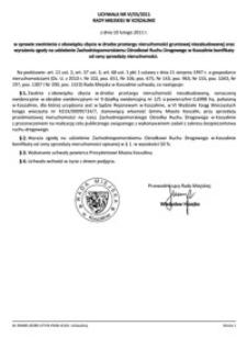 Uchwała Rady Miejskiej w Koszalinie nr VI/55/2011