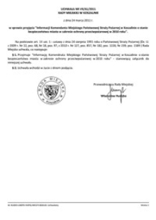 Uchwała Rady Miejskiej w Koszalinie nr VII/61/2011VII