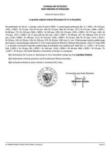 Uchwała Rady Miejskiej w Koszalinie nr VII/76/2011