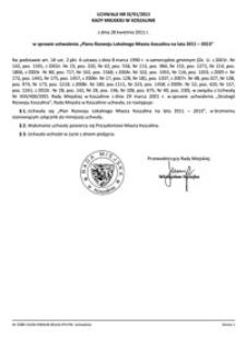 Uchwała Rady Miejskiej w Koszalinie nr IX/91/2011