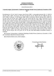 Uchwała Rady Miejskiej w Koszalinie nr IX/94/2011