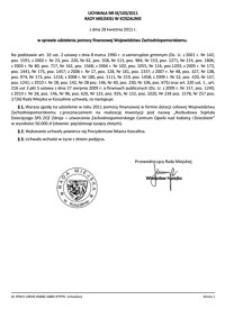 Uchwała Rady Miejskiej w Koszalinie nr IX/103/2011
