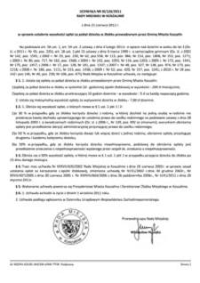 Uchwała Rady Miejskiej w Koszalinie nr XI/126/2011
