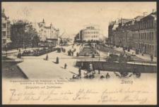 Stettin, Königsplatz und Stadttheater