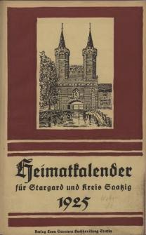 Heimatkalender für Stargard und Kreis Saatzig : für das Jahr ... . 1925