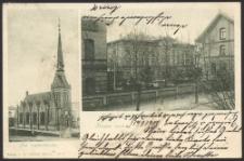 Gruss aus Stettin, Die Lutherkirche, Front des neues Krankenhauses an der Apfelallee