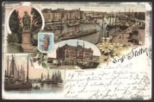 Gruss aus Stettin, Blick an der Oder, Stromabwärts ; Denkmal Friedrich d. Grossen ; Rathaus, Ostseite ; Dunzig quai.