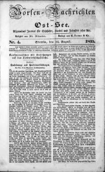 Börsen-Nachrichten der Ost-See : allgemeines Journal für Schiffahrt, Handel und Industrie jeder Art. 1835 Nr. 4