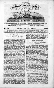 Börsen-Nachrichten der Ost-See : allgemeines Journal für Schiffahrt, Handel und Industrie jeder Art. 1835 Nr. 20