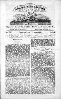 Börsen-Nachrichten der Ost-See : allgemeines Journal für Schiffahrt, Handel und Industrie jeder Art. 1835 Nr. 27