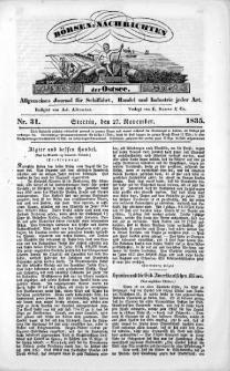 Börsen-Nachrichten der Ost-See : allgemeines Journal für Schiffahrt, Handel und Industrie jeder Art. 1835 Nr. 31
