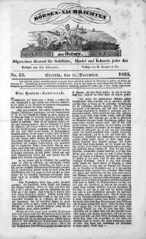 Börsen-Nachrichten der Ost-See : allgemeines Journal für Schiffahrt, Handel und Industrie jeder Art. 1835 Nr. 35