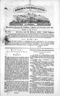 Börsen-Nachrichten der Ost-See : allgemeines Journal für Schiffahrt, Handel und Industrie jeder Art. 1836 Nr. 18