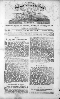 Börsen-Nachrichten der Ost-See : allgemeines Journal für Schiffahrt, Handel und Industrie jeder Art. 1836 Nr. 40
