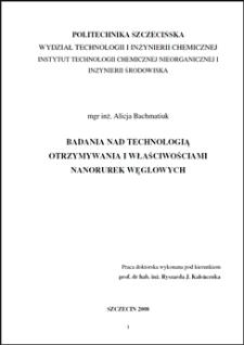 Badania nad technologią otrzymywania i właściwościami nanorurek węglowych