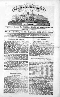 Börsen-Nachrichten der Ost-See : allgemeines Journal für Schiffahrt, Handel und Industrie jeder Art. 1836 Nr. 74