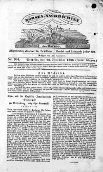 Börsen-Nachrichten der Ost-See : allgemeines Journal für Schiffahrt, Handel und Industrie jeder Art. 1836 Nr. 104