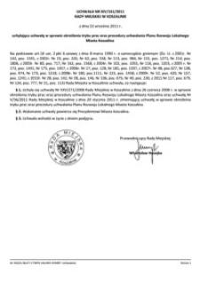 Uchwała Rady Miejskiej w Koszalinie nr XIV/161/2011