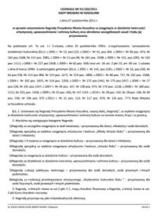 Uchwała Rady Miejskiej w Koszalinie nr XV/183/2011