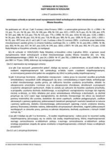 Uchwała Rady Miejskiej w Koszalinie nr XV/184/2011