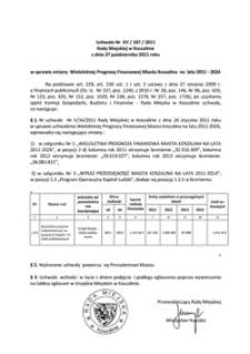 Uchwała Rady Miejskiej w Koszalinie nr XV/187/2011