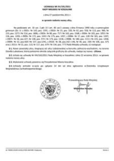 Uchwała Rady Miejskiej w Koszalinie nr XV/191/2011